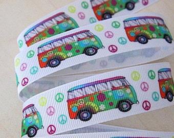 Ruban gros grain blanc  imprimé de camping cars multicolores  /  22mm.