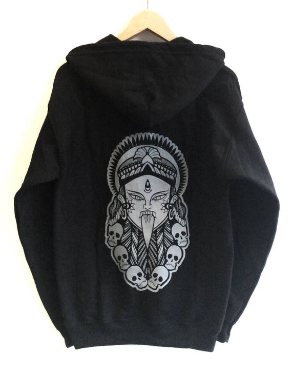 KALI HOODIE UNISEX Hindu Goddess Skulls Mandala Pattern Hoodie Tattoo Design Skate Urban Festival Streetwear 4dq6h9