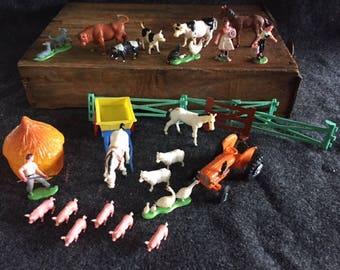 Adorable Vintage plastic farm miniature set