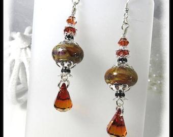2404, Brown earrings, brown lampwork beads, deep red crystals, brown caramel chandelier earrings, gifts for her, lampwork earrings,