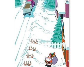 Reindeer Buried By Snow Plow Funny Christmas Card- 18 Cards & Envelopes - KX02