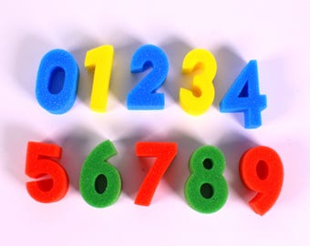 Foam Number Set 0-9 Wahable Painting Sponge Number Set in Bright Colour
