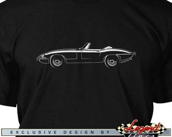 Jaguar E Type Convertible T-Shirt for Men - Lights of Art - Multiple colors available - Size: S - 3XL - Great British Classic Car Gift