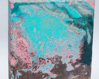 abstract art canvas painting original turquoise pink brown