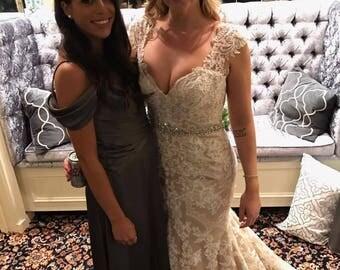 All Around Wedding Sash, Silver Wedding Belt, Rhinestone Satin dress Sash,Wedding Accessories,Flower Girl, Style 113