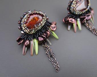 Amber clip on earrings - amber earrings - unique gift , statement earrings - chain earrings