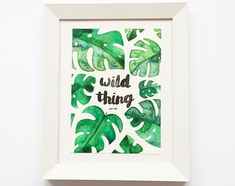 Palm, Original Art, Wall Art, Home Decor, Watercolour, Typography, Wild Thing, Tropical, Botanical, Watercolour Floral, Bedroom,