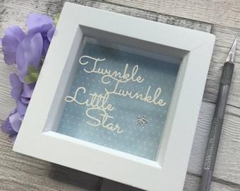 Star bedroom, star decor, nursery wall art, baby shower gift, papercut, new baby gift, nursery decor, framed papercut, wall art.