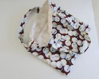 Golf Tote Bag, Maroon and White Golf Ball Tote Bag