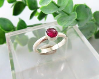 Pink Tourmaline Sterling Silver Ring  -  Size 6.75