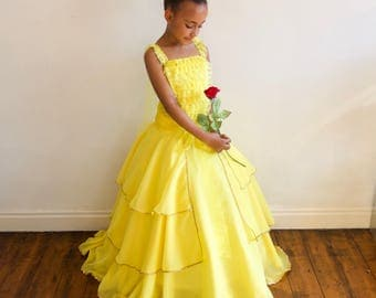 New Belle 2017 inspired Dress with FREE Rose Clip, Age 6 yrs up to 12yrs