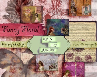 Fancy Floral  Vintage Journal  Junk Journal Printable  Digital Journal Kit  Printable Journal Paper  Junk Journal Kit  Ephemera Vintage
