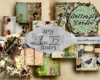 Printable Junk Journal Kit  Victorian  Vintage Journal  Digital Journal Kit  Ephemera Pack  Flowers  Printable Journal Paper