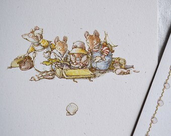 Brambly Hedge Note Card - Mice at the Pier Shelling Crab - Unused with Envelope