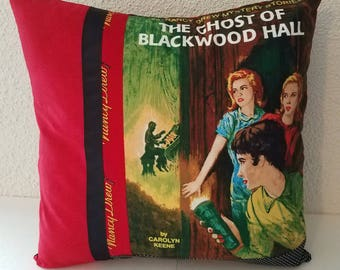 Nancy Drew pillow cover, Nancy Drew books, The Ghost of Blackwood Hall, decorative pillow, throw pillow, gift pillow, vintage books, books