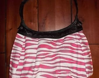 New Thirty-one Purse Skirt for Retired City Purse White & Pink Zebra Print 31 Gifts BEAUTIFUL Hobo Style