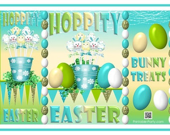 Easter treat label etsy printable easter bunny eggs treat gift wrap bags teal green yellow potato chip bag label negle Images