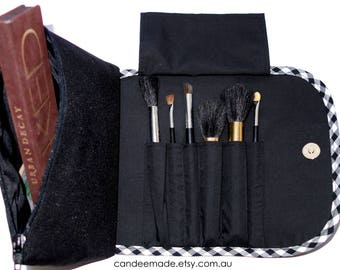 Black Obessed Large Makeup Bag with a Brush Holder Roll and Magnetic Button!