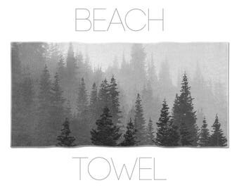 Tree Beach Towel, Nature Towel, Black And White Beach Towel, Fog And Trees, Gym Towel, Printed Towels, Washington State