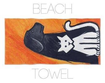 Pet Lover Gift, Cat And Dog, Towel For Kids, Beach Towel, Illustration Art, Printed Towels