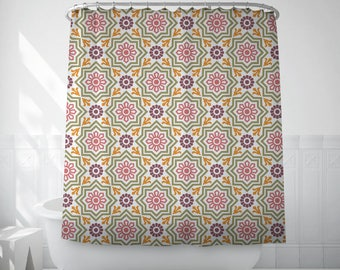 Moroccan decor shower curtain, Long shower curtains, Moorish home gifts, Textile, Purple, Geometric, Gift for her, Moroccan bathroom. SP033
