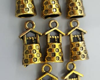 Wishing Well Charms, Antique Gold Finish, 17x8mm - 8 Pieces