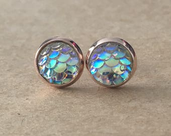 8mm Clear Mermaid Scale Earrings