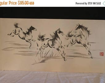 """SALE Vintage Chinese Ink Lithograph of Galloping Horses - Red Seal Mark, 16"""" x 34"""""""