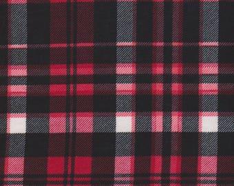 Red White Black Check Rayon lycra knit fabric