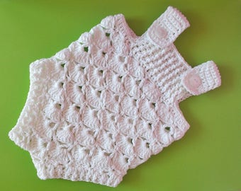 White Crochet baby romper, boy girl rompers, Newborn romper, Baby romper, crochet romper, Knit baby romper, Baby Shower Gifts