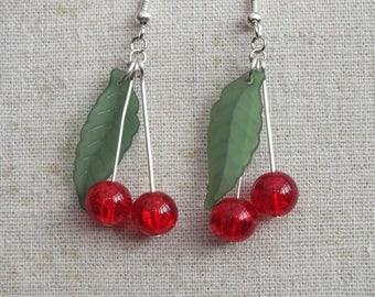 Cherry earrings, cherries earrings, fruit earrings, red and green earrings