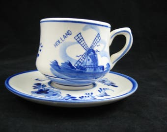 Delft Demitasse Set Cup and Saucer Hand Painted Delft Blue Holland Tea Cup and Saucer