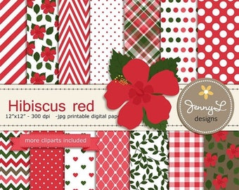50% OFF Red Hibiscus Digital Paper and Clipart, Flower Blossom Wedding, Bridal Baby Shower, Birthday Party, Summer Gumamela Digital Scrapboo