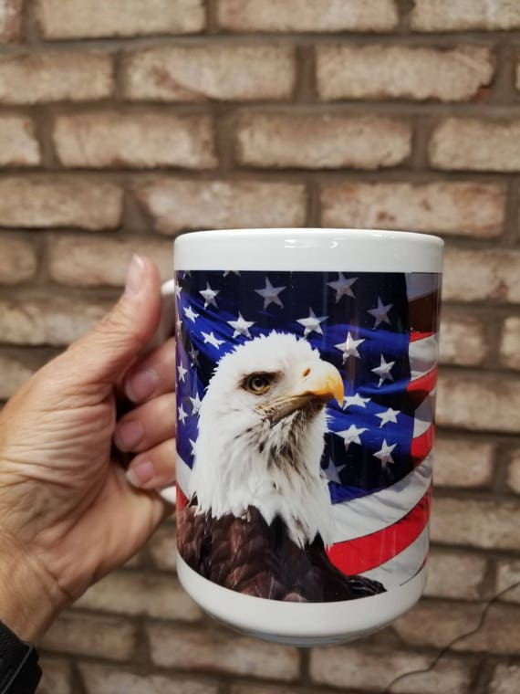I WILL STAND Coffee Mug - Patriotic Mug - American Eagle - Americana Drinkware - Pledge of Allegiance - 15 oz mug - Patriotic Cup