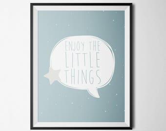 Affiche pour enfant couleur pastel - Enjoy the little things