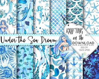 watercolor mermaid paper pack watercolor mermaid digital paper mermaid paper glitter mermaid background watercolor mermaid