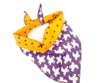 Halloween purple orange reversible ghosts / polka dots tie on pet bandana