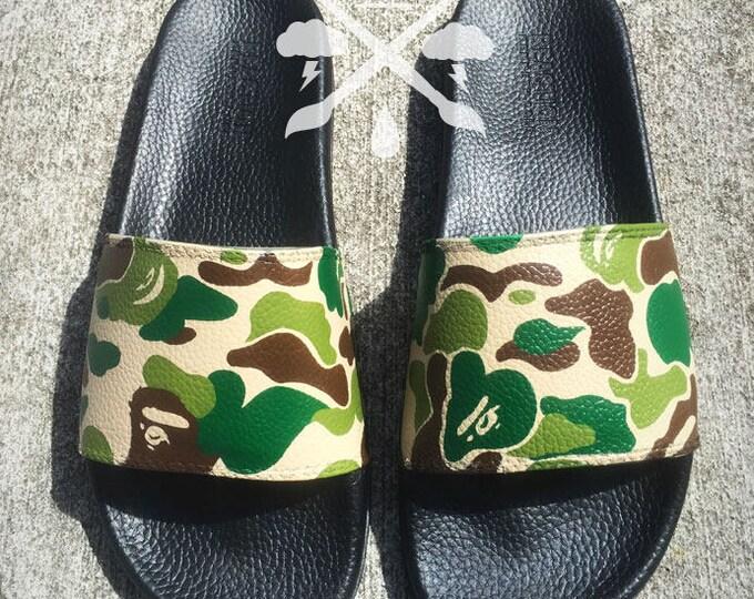 Bape Camo A Bathing Ape Camouflage Custom Slides Sandals Flip Flops