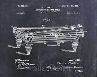 Billiard Table Patent Print Billiard Table Art Print
