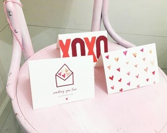 Set of 3 Valentine's Cards, Valentine's Card for Her, Valentines Cards for Friends, Watercolor Heart Card, Generic Card for Her, Blank Card