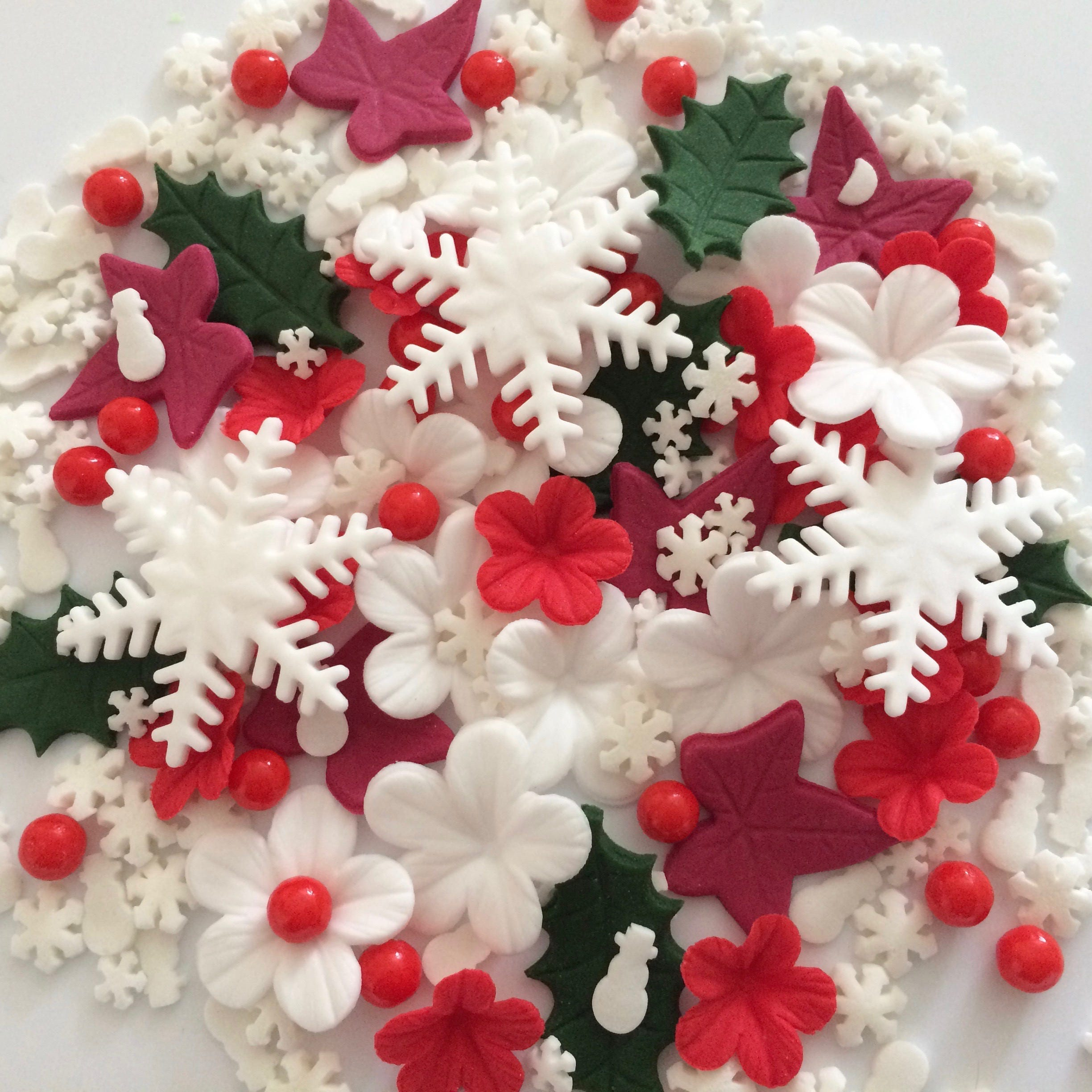 CHRISTMAS CAKE DECORATIONS edible sugar paste flowers cake