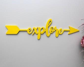Explore Sign, Explore Arrow Wood Sign, Wanderlust Sign, Explorer Sign, Travel Decor, Kids Room Decor, Nursery Sign, Boho Nursery Arrow Sign