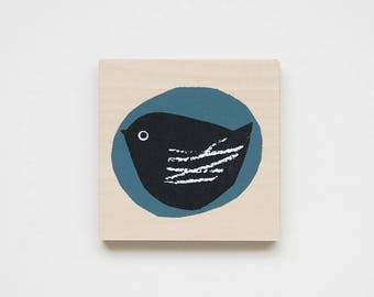 bird (blue) - printed mini plywood
