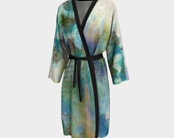 Turtle Doves Romantic Feminine Peignoir Loungewear Robe Luxury Peachskin Jersey Chiffon Blue Teal Beach Wrap Robe Bird Art Soft Women's Robe