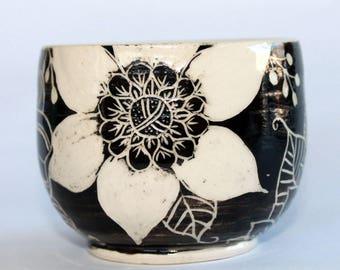 Doodle Flower Sgraffito Vase, Small flower bowl, black and white bowl