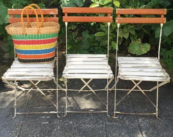 Three French Foldable Garden or Cafe Chairs. Park Chairs. Terrace Patio. Garden Outdoor furniture. Balcony. Folding Chair.