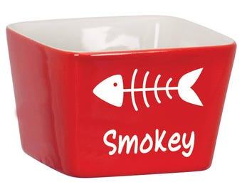 Custom Cat Bowl with Fish Bone, Engraved Cat Bowl, Personalized Cat Bowl, Personalized Water Bowl for Kitties, Engraved Dog Bowl