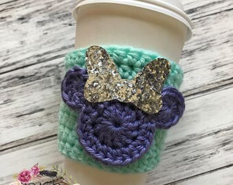 "The ""Spring Minnie"" Cozie / Cozies / Coffee Cozie / Tea Cozie / Tumbler Cozie / Crochet Cozie"