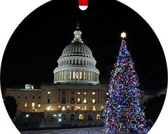 United States Capitol Washington DC on Christmas Eve Flat Round Shaped Aluminum Christmas Ornament