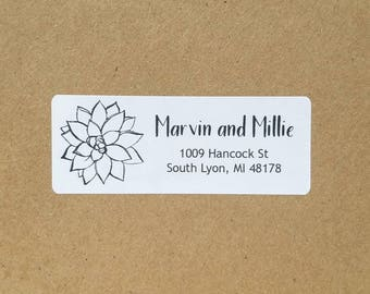 Custom return address label with modern text and succulent